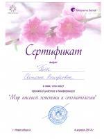"""Сертификат """"Мир высокой эстетики в стоматологии"""" Гаек Светлана Валерьевна"""